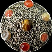 Vintage Scottish 900 Silver Pin Pebble Stone Celtic Tiger's Eye Gold Stone Agate