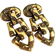 Vintage MONET DOORKNOCKER Earrings Gold Tone Clip On Designer Signed