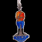 Vintage Royal Canadian Mounted Police Sterling Enamel Charm Pendant
