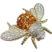 Rare Vogue Bijoux Bee Brooch Italy Couture Topaz Diamante Invisibly Set Pin Vintage - Red Tag Sale Item