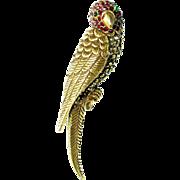 Vintage Jeanne Parakeet Rhinestone Pin Parrot Figural Brooch Designer Signed