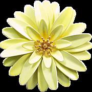 Vintage TRIFARI ENAMEL FLORAL Pin Enameled Yellow Figural Mum Designer Signed