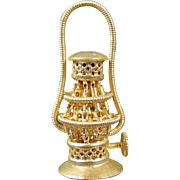 Vintage FILIGREE OIL LANTERN Dollhouse Miniature Gold Tone Ormolu Doll House