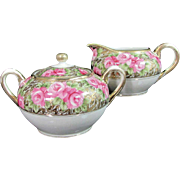 Vintage IMPERIAL NIPPON ROSE Creamer Sugar Bowl Hand Painted Pink Gold Gilt