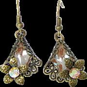 OOAK SAPHIRET FILIGREE Earrings Vintage Czech Art Glass Pierced Earrings Artisan