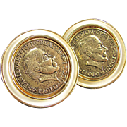 Vintage PAOLO GUCCI COIN Earrings Enamel Signed Signature Clip Gold Tone