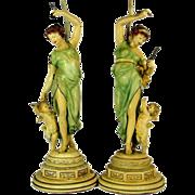 Antique LADY CHERUB Lamp Pair Moreau Style Polychrome Art Nouveau Spelter Lamps