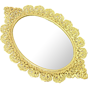 Vintage Miniature Gold Ormulu Filigree Mirror Tray Floral Dollhouse Doll Accessory