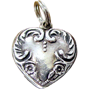 Vintage FLORAL PUFFY HEART Charm Sterling Silver Pendant Flowers and Scrolls Figural Pendant