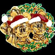 Vintage Napier DISNEY MICKEY & MINNIE Pin Enameled Christmas Brooch Designer Signed