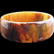 Vintage Mississippi Mud Bakelite Bangle Dark Brown Amber Swirl Bracelet