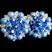 Vintage Blue Aurora Borealis Bead Earrings Ab Beaded Clip On