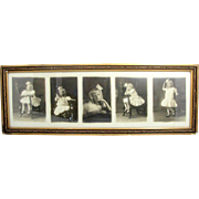 Antique VICTORIAN GIRL PHOTO 5 Views Gilt Frame Blond Curls Griffin Wood Chair