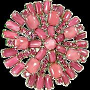 Vintage PINK MOONSTONE Art Glass Pin Rhinestone Silver Tone Brooch Lg