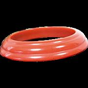 Vintage MONET LUCITE Bangle Bracelet Brick Red Saucer Shaped Modern Design