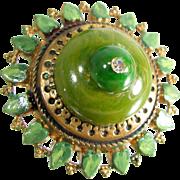 OOAK ARTISAN Ring Vintage Bakelite Layered Green Cab Painted Leaf Adjustable Sz 8.5