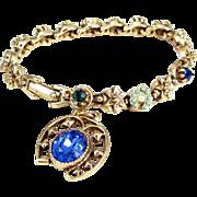 Vintage ART JEWELRY Co RHINESTONE Bracelet Horseshoe Charm Star Slide Design