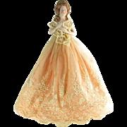 Vintage Carl Schneider Lady Half Doll Lamp Porcelain Gold Lace Gown Gorgeous