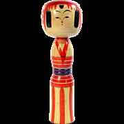 "Vintage DENTO YAJIRO KOKESHI Doll Japanese 11.75"" Painted Carved Wood Figure"