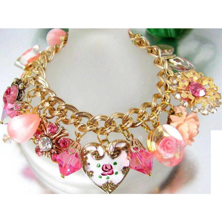 PINK OOAK ARTISAN Enamel Heart Rhinestone Carved Rose Floral Charm Bracelet