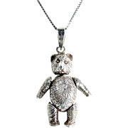 "Vintage STERLING Jointed TEDDY BEAR Pendant 1 1/2"" Charm Silver 30"" Chain Necklace - Red Tag Sale Item"