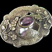 Vintage Amethyst Sash Pin Art Nouveau Floral Victorian Chased Design Antique