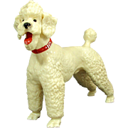 Vintage BREYER WHITE POODLE Dog Glossy Bright Red Collar Early Ex.