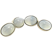 Vintage PALE BLUE MOONSTONE Cufflinks 835 Silver Men's Women's Cuff Links