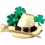 Vintage AJC St. PATRICK'S DAY Pin Green Hat Pipe Shamrock Figural Brooch