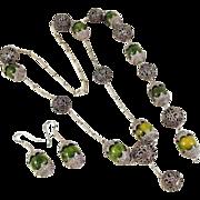 OOAK Green Swirl Vintage Bakelite Etruscan Bead Necklace Earrings Bracelet