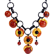 OOAK ARTISAN BAKELITE Bead Disc Necklace Vintage Beads Chips Black Cherry Juice