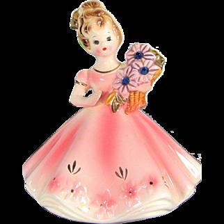 Vtg JOSEF ORIGINALS SEPTEMBER Birthday Girl Figurine Sapphire Blue Rhinestone
