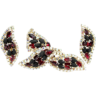 Vintage Red Black Ab Rhinestone Pin Earrings Aurora Borealis Brooch Demi Parure