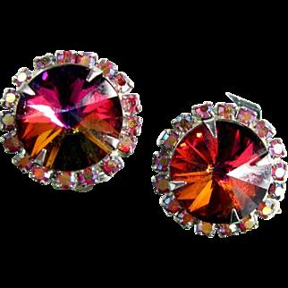 Vintage RIVOLI HEADLIGHT Earrings Red Aurora Borealis Rhinestone