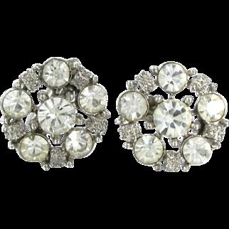Vintage Rhinestone Cluster Cufflinks Silver Tone Cuff Links