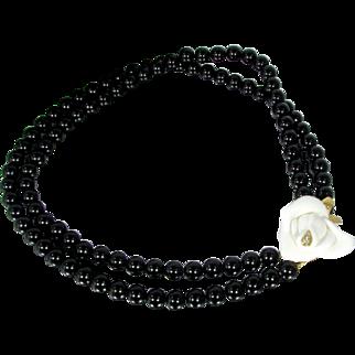 Vintage KJL Midnight Rose Necklace Kenneth Jay Lane Avon Rhinestone Black Faux Onyx