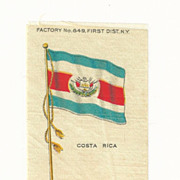 1906 Costa Rica National Flag - Vintage Early 1900's Sovereign Cigarette Silk - American Tobacco Company Advertising Premium FREE WITH PURCHASE OF 2 OTHER SALE PRICED FLAG SILKS