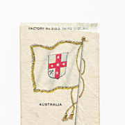 Colonial British Empire - c1820's  Australia Colony Flag - Vintage Early 1900's Egyptienne Cigarette Silk - American Tobacco Company Advertising Premium - FREE WITH PURCHASE OF 2 OTHER SALE PRICED FLAG SILKS