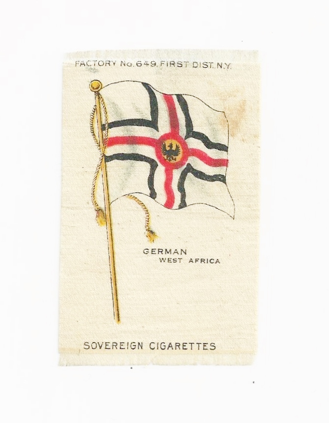 1880s Germany Colonial Empire - German West Africa Flag - Vintage Early 1900's Sovereign Cigarette Silk - American Tobacco Company Advertising Premium