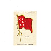 1882 Egypt  National Flag - Vintage Early 1900's Egyptienne Cigarette Silk - American Tobacco Company Advertising Premium - FREE WITH PURCHASE OF 2 OTHER SALE PRICED FLAG SILKS