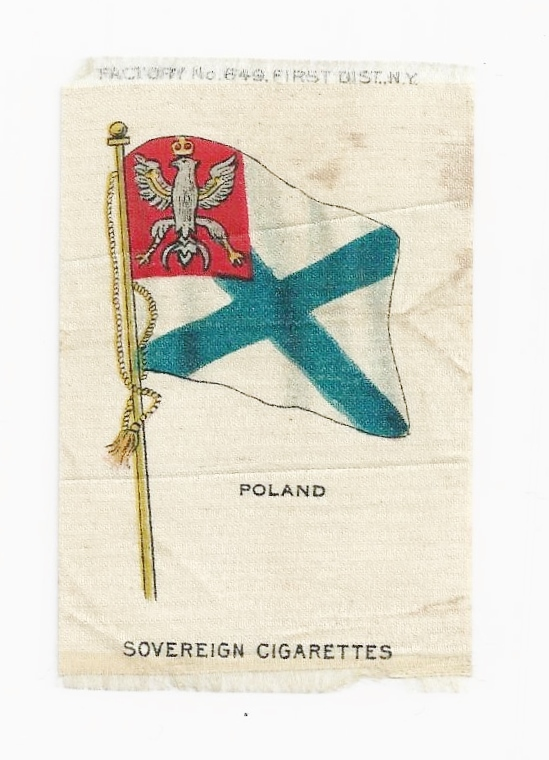 1820-1917 Kingdom of Poland National Flag - Vintage Early 1900's Sovereign Cigarette Silk - American Tobacco Company Advertising Premium - FREE WITH PURCHASE OF 2 OTHER SALE PRICED FLAG SILKS