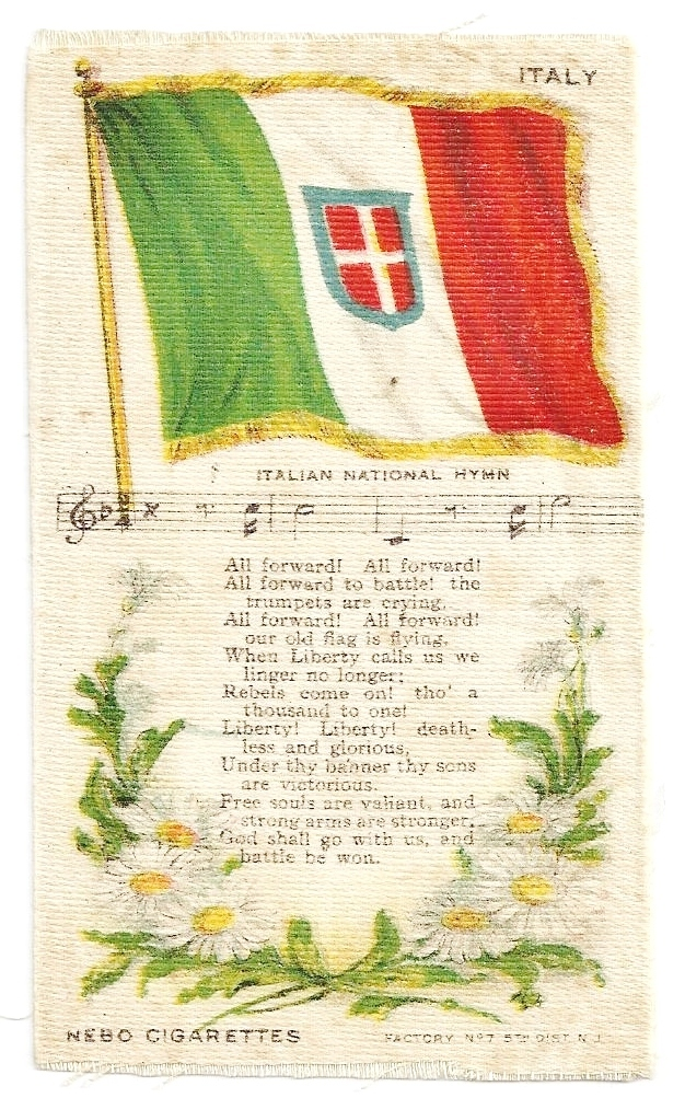 Large 1848-1946 Italy National Flag & National Anthem - Vintage Early 1900's Nebo Cigarette Silk - American Tobacco Company Advertising Premium