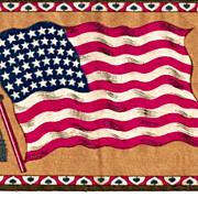 "c1912 USA 48-Star American National Flag Tobacco Advertising Premium Vintage Flannel ""Felt"" - Tan Background - Medium-Sized 8-1/4"" x 5-1/4"" - BUY 2 GET 1 FREE"