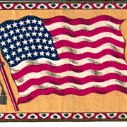 "c1910  USA 48-Star American National Flag  (1912-1959)  - Vintage Tobacco Advertising Premium Flannel ""Felt"" - Yellow Background - Medium-Sized 8-1/4"" x 5-1/4"" - BUY 2 GET 1 FREE"