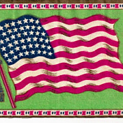 "c1910 USA 48-Star American National Flag  (1912-1959)  - Vintage Tobacco Advertising Premium Flannel ""Felt"" - Green Background - Medium-Sized 8-1/4"" x 5-1/4"" - BUY 2 GET 1 FREE"