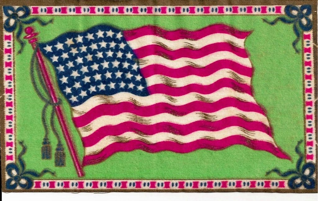 "c1912 USA 48-Star American National Flag Tobacco Advertising Premium Vintage Flannel ""Felt"" - Green Background - Medium-Sized 8-1/4"" x 5-1/4"" - BUY 2 GET 1 FREE"