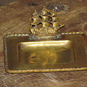 "c1922 Vintage English Brass Card Receiver Desk Tray - Famous British H.M.S Ship ""Victory"" - 1805 Trafalgar Naval Battle - Great Britain Patent Registry No. - United Kingdom"