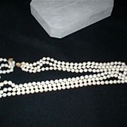 Vintage Three Strand Cultured Pearl Necklace with 14K Yellow Filigree Clasp - 227 Nearly Perfectly Matched Pearls -  with Certified Appraisal