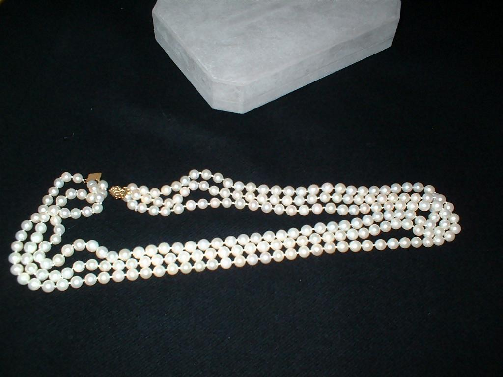 Vintage Three Strand Cultured Pearl Necklace with 14K ...