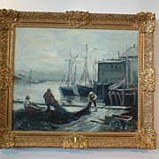 Vintage Emile Gruppe (1898-1978) Oil on Canvas Painting - Gloucester Harbor Fishermen Mending the Nets